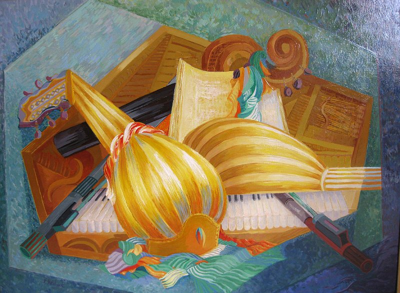 atelier francoise allehaut la musique musique duo de mandolines huile. Black Bedroom Furniture Sets. Home Design Ideas